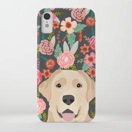 Yellow Lab dog portrait labrador retriever dog art pet friendly florals floral iPhone Case