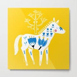 Folk horse on yellow Metal Print
