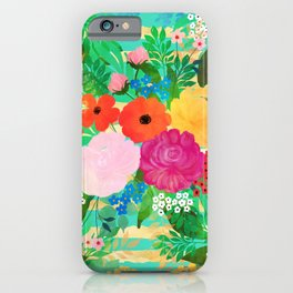 Cute Watercolor Red & Yellow Floral Biscay Green Design iPhone Case