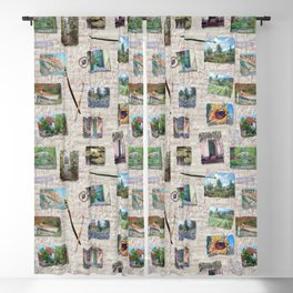 Postcards From France Pattern Blackout Curtain