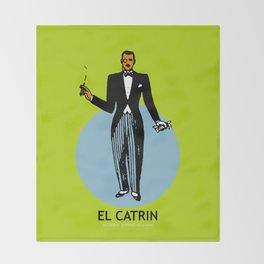 El Catrin Mexican Loteria Card Throw Blanket