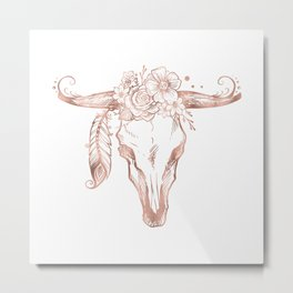 Rose Gold Bull Skull with Pink Feather Flowers Metal Print