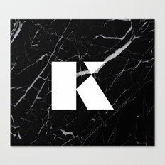 Black Marble - Alphabet K Canvas Print