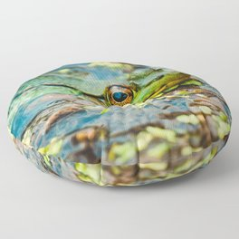Happy Green Frog, Chilling In The Muck. Photograph Floor Pillow