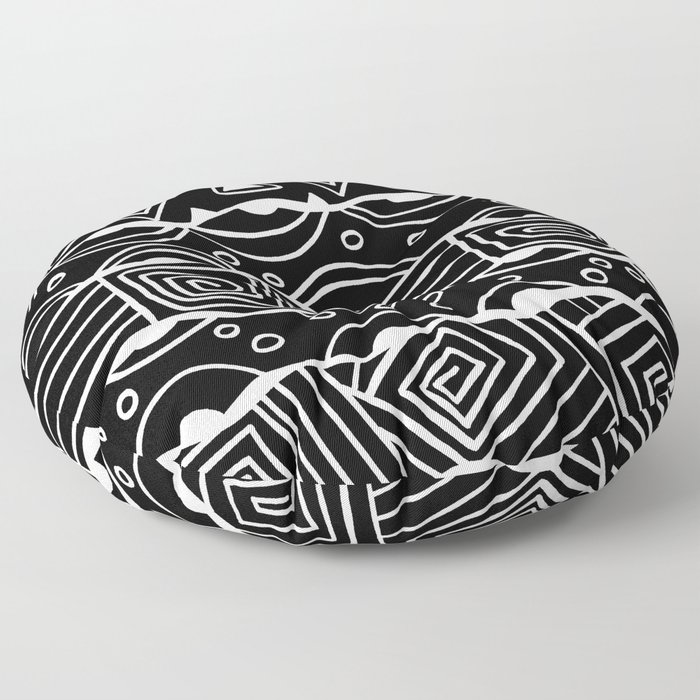Wavy Tribal Lines with Shapes - White on Black - Doodle Drawing Floor Pillow