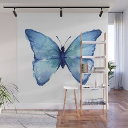 Blue Butterfly Watercolor Wall Mural
