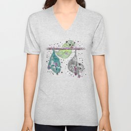 Green possum trio on a branch - Teal Unisex V-Neck