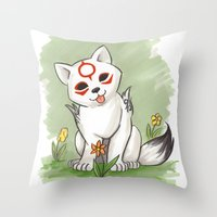 okami Throw Pillows featuring Okami Chibiterasu by Brandy Woods