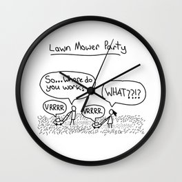 Lawn Mower Party Wall Clock