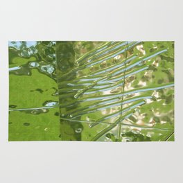 Silver, Green, and Blue Reflection Rug