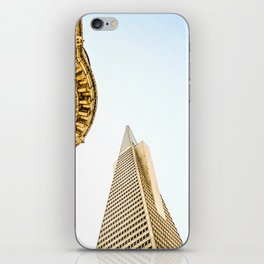 pyramid building and modern building and vintage style building at San Francisco, USA iPhone Skin