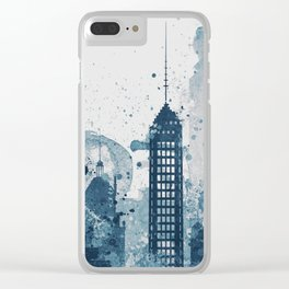 Blue Sacramento watercolor skyline Clear iPhone Case