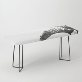 Palm leaves black and white tropical watercolor Bench