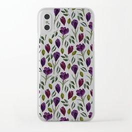 Plum Rose Garden Clear iPhone Case
