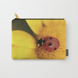 Ladybug on yellow flower - macro still life - fine art photo for interior design Carry-All Pouch
