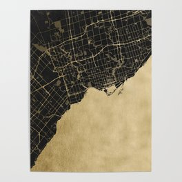 Toronto Gold and Black Street Map Poster