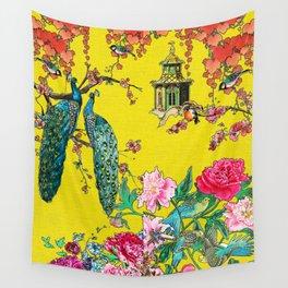 Vintage Oriental Peacocks, Peonies, Birds & Pagodas Print Wall Tapestry