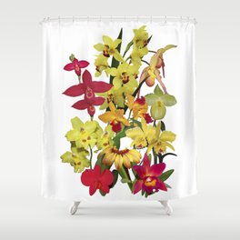 Orchids - Hot Colors! On white Shower Curtain