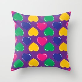 pattern with colorful hearts on purple background Throw Pillow