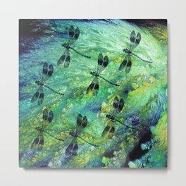 Seven Dragonflies on Green Blue Background Metal Print