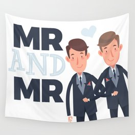 Mr and Mr gay wedding Wall Tapestry