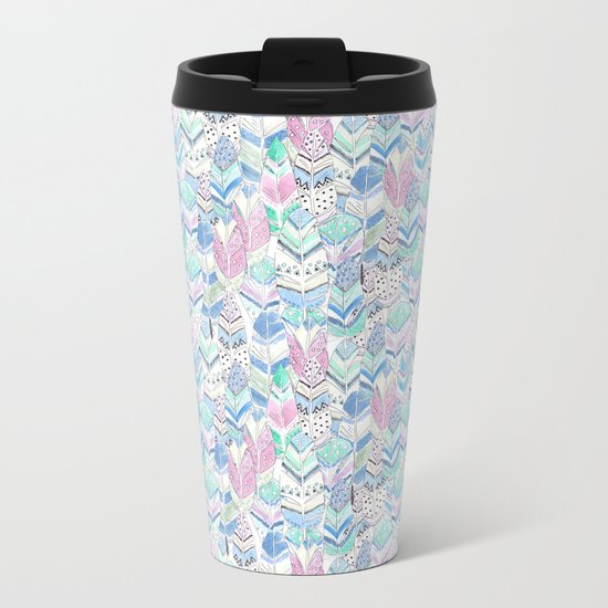 Watercolor . The feather of a bird . Metal Travel Mug