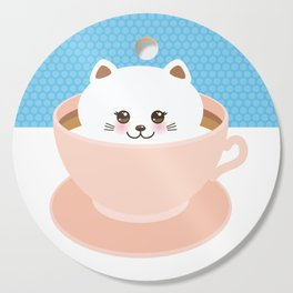 Cute Kawai cat in pink cup, coffee art Cutting Board