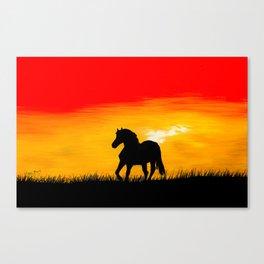 Horse At Sunset Canvas Print