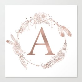 Letter A Rose Gold Pink Initial Monogram Canvas Print