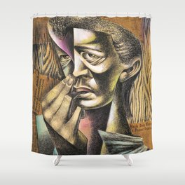 African-American Classical Masterpiece 'Headlines' by Charles White Shower Curtain