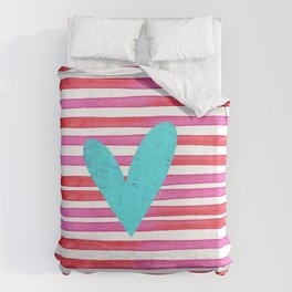 Soulmates Lines and Hearts Duvet Cover