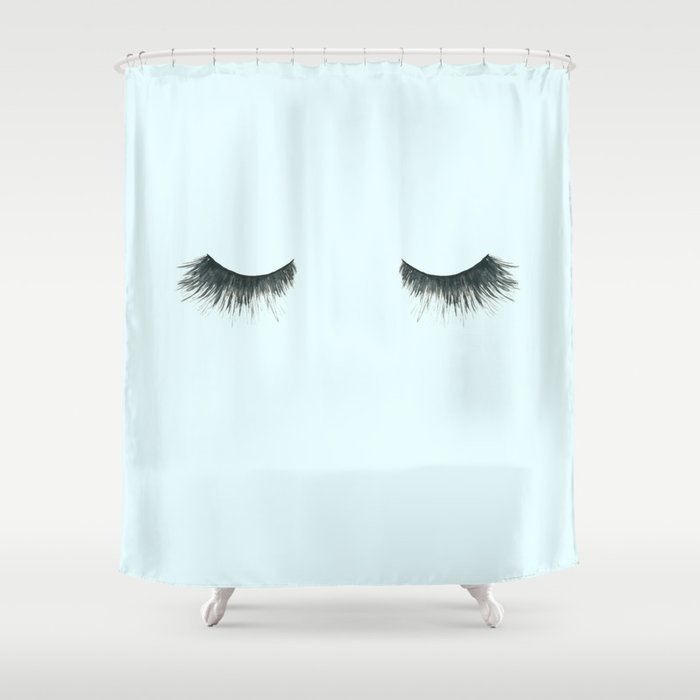 Dramatic dreaming in blue  \\ lashes, closed eyes, sleeping design for bedroom Shower Curtain