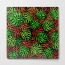 Monstera Leaf Pattern Metal Print