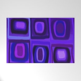 Violets in Blue Windows Welcome Mat