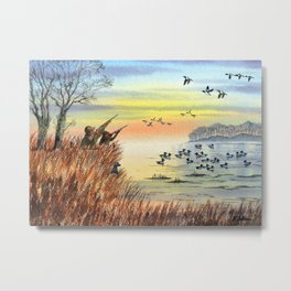Duck Hunting With Dad For Goldeneye Metal Print