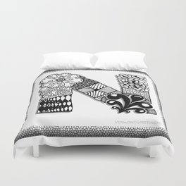 Zentangle N Monogram Alphabet Initials Duvet Cover