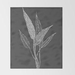 Black and White Botanical Drawing Throw Blanket