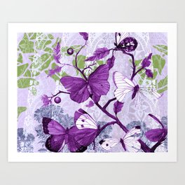Purple Butterflies on a Branch Vintage Floral Art Print