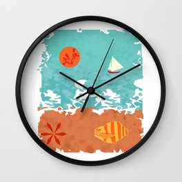 Sunset at the beach Wall Clock