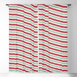 Red White and Green Christmas Candy Cane Pattern Blackout Curtain