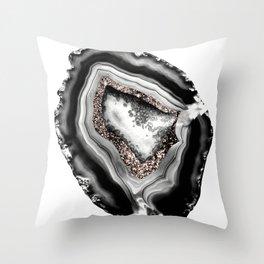 Agate Rose Gold Glitter Glam #1 #gem #decor #art #society6 Throw Pillow