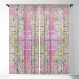 Joyful Pink Geometric Pattern Watercolor Tapestry Sheer Curtain