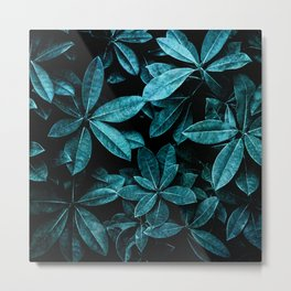 TEAL LEAVES Metal Print