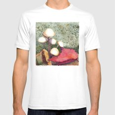 Adirondack Mushrooms White Mens Fitted Tee MEDIUM