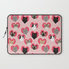 Cat faces love hearts valentines day gifts for cat lovers must have cats Laptop Sleeve