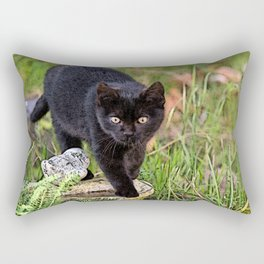 Lovely black cat walking her garden Rectangular Pillow