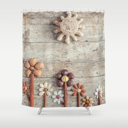 Dried fruits arranged forming flowers (3) Shower Curtain