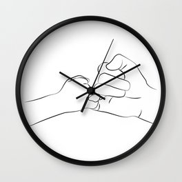 dad son pinky promise Wall Clock