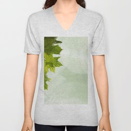 Green leaves frame Unisex V-Neck
