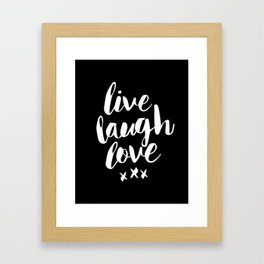 Live Laugh Love black and white monochrome typography poster design home wall decor canvas Framed Art Print